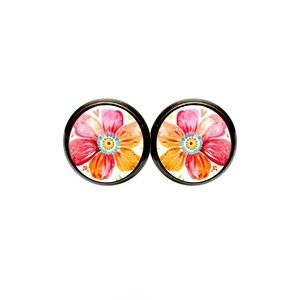 Pink & Orange Flower Earrings